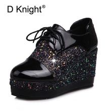 US $38.92 Patent Women Creepers England Style Wedge High Heels Lace up Platform Shoes Woman Sequins Patchwork Wedges Student Women's Pumps. Aliexpress product