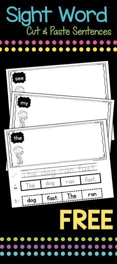Sight Word cut and paste sentences - FREE - perfect for literacy centers and writer& workshop - classroom stuff - Sight Word Sentences, Teaching Sight Words, Sight Word Worksheets, Sight Word Practice, Sight Word Activities, Reading Activities, Sight Word Book, Grade 1 Sight Words, Free Worksheets