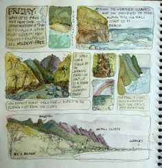 Using boxes to organize thoughts and glimpses of a day (Kauai journal by Amanda Kavanaugh) Sketch Journal, Artist Journal, Book Journal, Journal Layout, Watercolor Sketchbook, Art Sketchbook, Watercolour, Travel Sketchbook, Nature Sketch