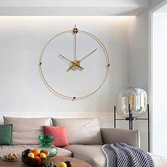 BuyBuyBuy Golden Spanish Simple Wall Clock Fashion Light Luxury Minimalist Clock Nordic Office Living Room Decorative Clock Modern Creative 60 60 (cm) Dream time Minimalist Clocks, Retro 4, Clock Decor, Fashion Lighting, Program Design, Spanish, Ceiling Lights, Living Room, Luxury