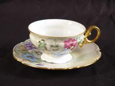 Hutschenreuther Selb LHS teacup saucer vtg flowers hand painted Bavaria gold #Hutschenreuther