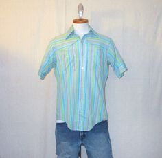 Vintage 70s MARLBORO COUNTRY WESTERN Striped Button Up Small Medium Collared Short Sleeve Shirt