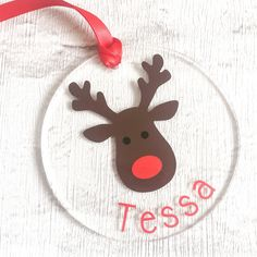 Rudolph Christmas Tree Decoration, Reindeer, Childrens, Kids, Christmas Decoration, Bauble, Personalised Bauble, Personalised Decoration by DesignsByDanielleUK on Etsy https://www.etsy.com/uk/listing/385823952/rudolph-christmas-tree-decoration