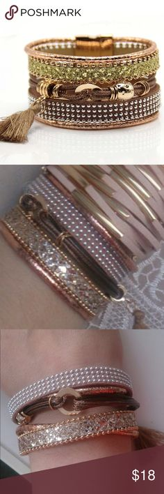Multi Layer Bracelet (nwt) Brand new in package, stunning multilayered bracelet with magnetic closure Jewelry Bracelets