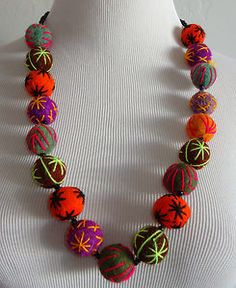 Moroccan Recycled Wool Embroidered Felted Beads