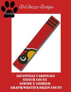 (4) Name: 'Crocheting : Louisville Cardinals Scarf Crochet Graph