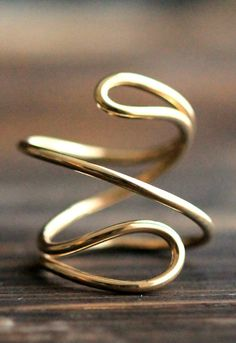 Endless Double Wire Adjustable 14K Gold Filled Ring- 3D Swirl Statement Ring