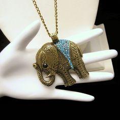 Large Elephant Aqua Blue Rhinestones Antiqued Brass Pendant Necklace #Unbranded #Pendant