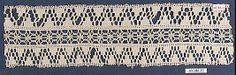 Date:      16th century  Culture:      Italian (Venice)  Medium:      Bobbin lace  Dimensions:      L. 11 x W. 3 inches (27.9 x 7.6 cm)