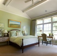 Sage Green Bedroom With Accent Wall Decor