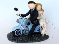 Motorrad Brautpaar von www.tortenfiguren.at - Motorbike Weddingcouple