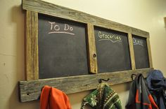 Learn how to make a coat rack with a build in chalkboard. Great for leaving messages, to do lists, grocery lists, and chores!
