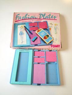Vintage 1987 Tomy Fashion Plates Retro Clothing Fashion Design 80s Rare Toy Gift #TOMY