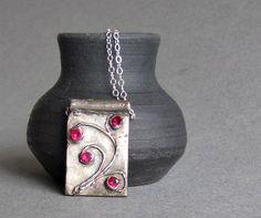 Ruby Cubic Zirconia Necklace Precious Metal Clay by heartsabustin, $70.00