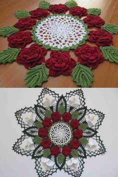 Victorian Rose Doily Free Crochet Pattern Here is an intricate, yet easy to make doily in using the traditional Victorian rose motif. This beautiful doily is sure to be a favorite Crochet Puff Flower, Crochet Dollies, Crochet Gifts, Easy Crochet, Crochet Flowers, Crochet Lace, Crochet Mandala Pattern, Crochet Flower Patterns, Knitting Patterns