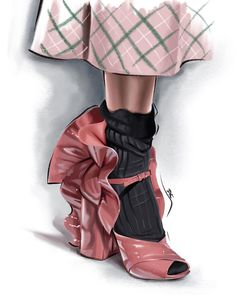 Fashion Illustration Shoes, Miu Miu Glasses, Kelly Thompson, Rene Gruau, Miu Miu Shoes, Fashion Art, Fashion Design, Fashion Sketches, Catwalk