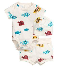 3-teiliges Jerseyset | Naturweiß/Fische | Kinder | H&M DE