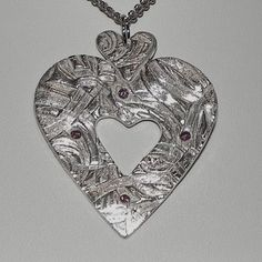 Beautiful!   Hand Crafted Silver Heart NecklaceTriple by HGWjewelrydesigns,