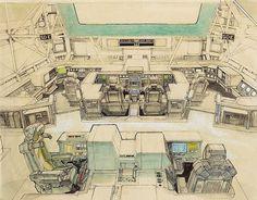 Original Nostromo bridge sketch by Ron Cobb Alien (1979) Ridley Scott