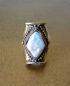 Diamond Pearl Ring  Pearl Saddle Ring  Bohemian by HEIDIABRAOUTLET