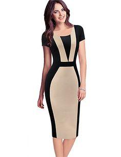 Mulheres Vestido Evasê / Bodycon Vintage / Simples / Fofo / Moda de Rua Patchwork Altura dos Joelhos Decote Redondo Algodão / Poliéster de 4944987 2016 por R$47,29