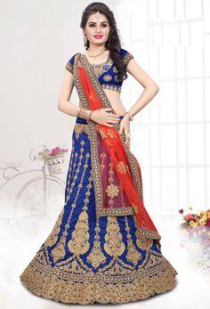 Blue Art Silk Bridal Circular Lehenga Choli #wedding #weddingwear #stylish Trendy #silk #partywear #lehenga #lengha #onlinelehenga #lenghaonline #punjabighaghra #WomenClothing #WomenWear #stylishlehenga #lehengacholi #indowesternlehengacholi #circular #fishcut #mermaid #nikvik #usa #designer #australia #canada #malaysia #UAE #freeshipping price-US$213.00  Sign up and get USD100 worth vouchers.