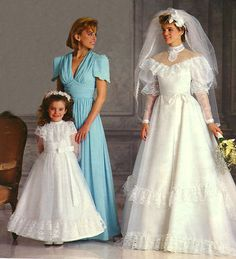 Baby Blue qbf/tvf 1980s Style Wedding Dresses, Ugly Wedding Dress, Wedding Dress With Veil, Wedding Dress Sleeves, Designer Wedding Dresses, Vintage Gowns, Vintage Bridal, Lace Weddings, Retro Weddings