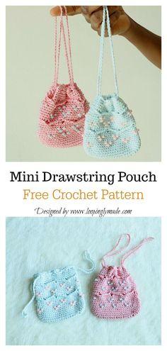 Most recent Pic Crochet Bag mini Style Beaded Mini Drawstring Pouch Bag Free Crochet Pattern Crochet Drawstring Bag, Crochet Pouch, Drawstring Pouch, Crochet Purses, Knit Or Crochet, Beaded Crochet, Diy Crochet Purse, Crochet Bikini, Crochet Rope