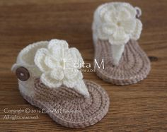 Crochet bebé sandalias, sandalias gladiador, botitas de bebé, zapatos de bebé, 0-3, 3-6 meses, zapatos de verano, sandalias de la flor, regalo para bebé, baby shower