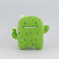 Noodoll Riceouch Plush Toy Cushion: Riceouch, the cactus loves hugs, good job it's cactus spikes are soft and don't hurt a bit! This bright green cactus has a naughty side, sometimes it can be a rule breaker! Kawaii Plush, Cute Plush, Softies, Plushies, Embroidered Cactus, Cactus Craft, Hamster, Cute Pillows, Diy Pillows