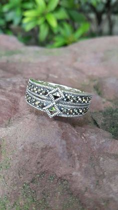 925 Sterling silver marcasite ring handmade band round ring comfortable size 8 #Handmade #Band