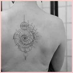 spiritual compass tattoo , click now. Neue Tattoos, Body Art Tattoos, Print Tattoos, Tatoos, Tattoo Art, Fibonacci Tattoo, Fibonacci Spiral, Line Work Tattoo, Back Tattoo