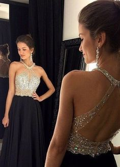 2016 Sexy Black Prom Dresses Halter Neck Crystals Bodice Open Back Chiffon Long Evening Gowns