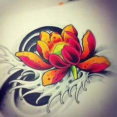 Colorful Japanese Lotus Tattoo Design