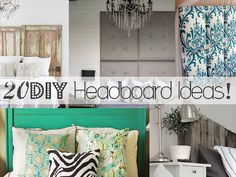 20 DIY Headboard Ideas, plus I love that green with the floral and zebra pillows.