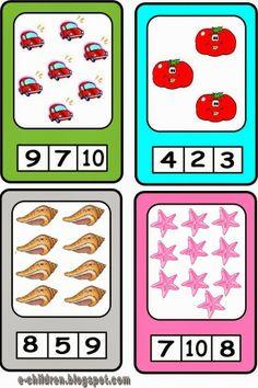 Καρτέλες με καλοκαιρινό περιεχόμενο. Μετράμε και κυκλώνουμε με ανεξίτηλο μαρκαδόρο τη σωστή απάντηση. Προηγουμένως έχουμε πλαστικοποιήσει το υλικό μας. Σβήνουμε με οινόπνευμα. Number Activities, Preschool Learning Activities, Educational Activities, Math Games, Toddler Activities, Addition Games, Summer Crafts, Mathematics, Kindergarten