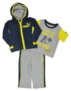 Puma Baby Boys Dress Blues  Yellow 3Pc Sweatsuit 12M -- Visit the image link more details. (This is an affiliate link) #BabyBoyHoodiesandActive