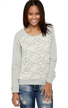 Deb Shops #Lace Front #French #Terry Top $15.67