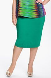 pop color pencil!  great addition to the repartee -  Vince Camuto Slim Knit Skirt (Plus)