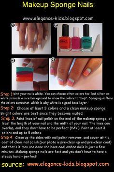 Makeup Sponge Nails: gradient nails made easy