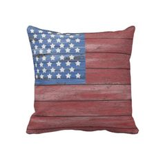 Rustic Wooden Barn Wall, American Flag, Patriotic Red White and Blue, Independence Day, 4th Of July Throw Pillow / Couch Pillow