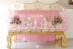 Carousel dessert table from an Enchanted Carousel Birthday Party on Kara's Party…