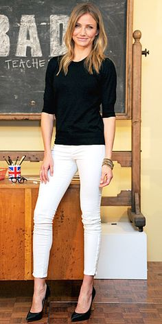 Cameron Diaz in black top, white J. Brand jeans, and black Casadei pumps, June 2011