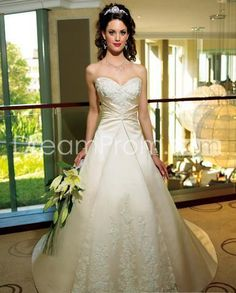 US $182.69 A-line/Princess SweetHeart Chapel Train Satin wedding dress for brides 2014 style(WDA1478)