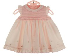 Sarah Louise pink smocked baby dress with ruffles,pink smocked baby dress and diaper cover.