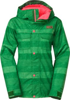The North Face Ricas Insulated Ski Jacket Amazon Green Stripe Herringbone  Print - Womens page. d75b95f06