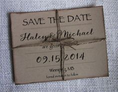 Rustic Save the Date Card Kraft Save the Date by LoveofCreating