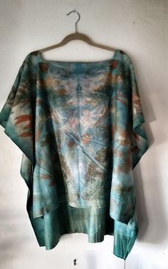 100% Soft Milton Wool, Hand embroidered silk around neckline, Ecoprinted with natural dyes and eucalyptus. By Living and Dyeing