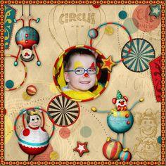circus, clown, costume, child, vintage, scrap, layout, template