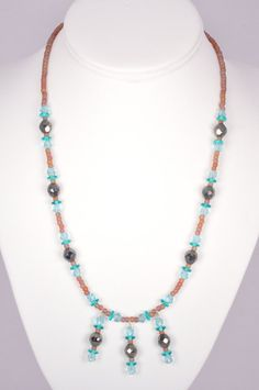 20 Inch Glass Bead Necklace Grey Blue Purple by FiveLeavesFound, $25.00
